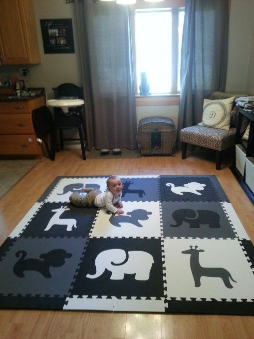 Great For My Hardwood Floors Turn Any Living Room Into A Fun Designer Play Area With SoftTiles Safari Animals Mat In Black Gray And White