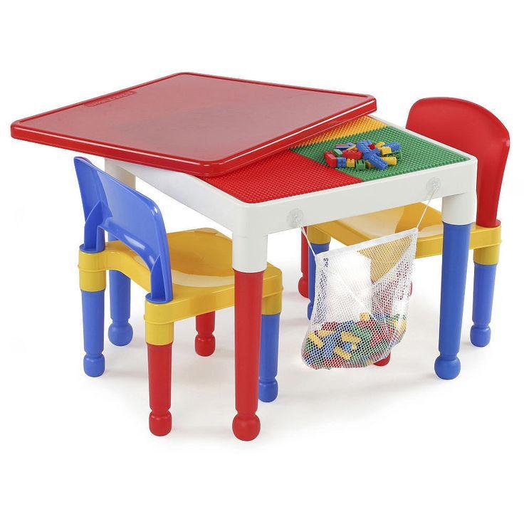 Tot Tutors 2-in-1 Plastic Building Block Compatible Activity Table and 2 Chairs  #tottutors