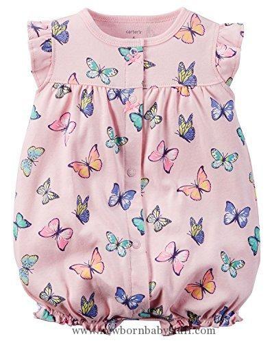 Baby Girl Clothes Carter's Baby Girls 1-piece Appliqué Snap-Up Cotton Romper (3 Months, Pink Butterflies)
