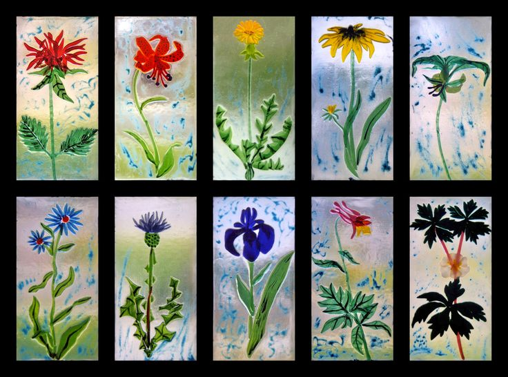 stained glass flowers, ideas for fused glass