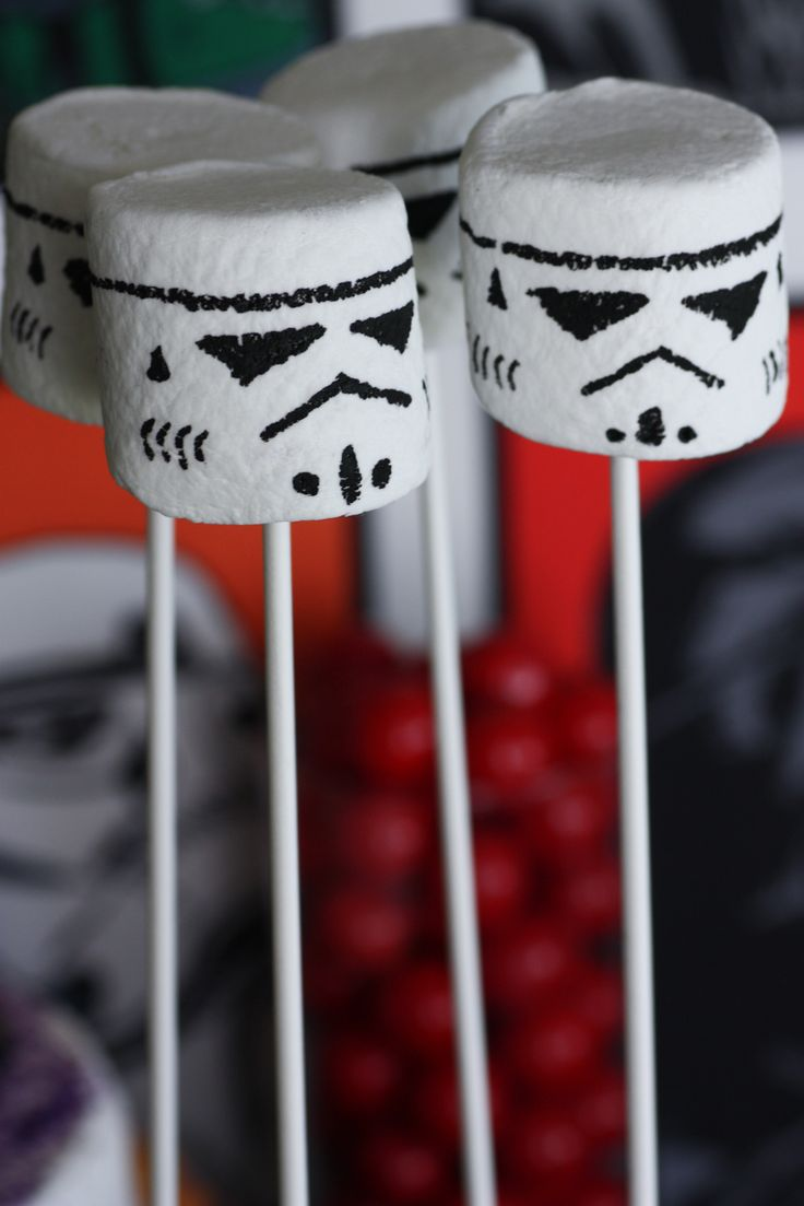 Fun to make and eat, these Storm Trooper Marshmallows are easy to make. All you need is marshmallows and black food dye! The perfect food and décor item for a Star Wars Party!