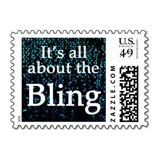 It's All About the Bling, Teal, Turquoise Blue Sequin, Postage Stamps. #teal #turquoise #bling #stamps
