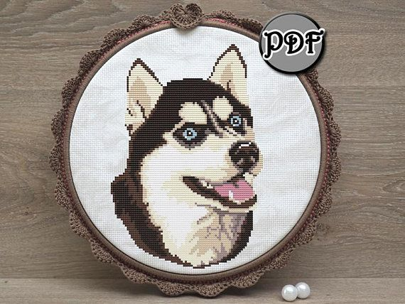 Siberian Husky Dog Face Cross Stitch Pattern Pdf By Annaxstitch