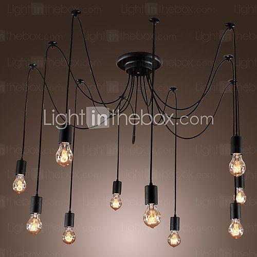 Chandelier Vintage Design Bulbs Included Living 10 Lights - USD $98.99