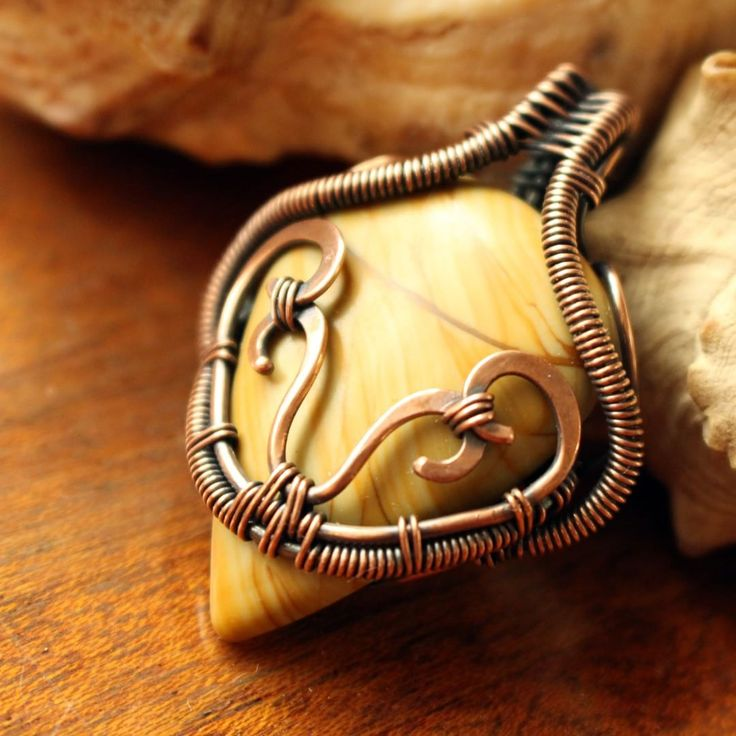 «Wire wrapped copper pendant with natural jasper stone #lacylovejewelry…