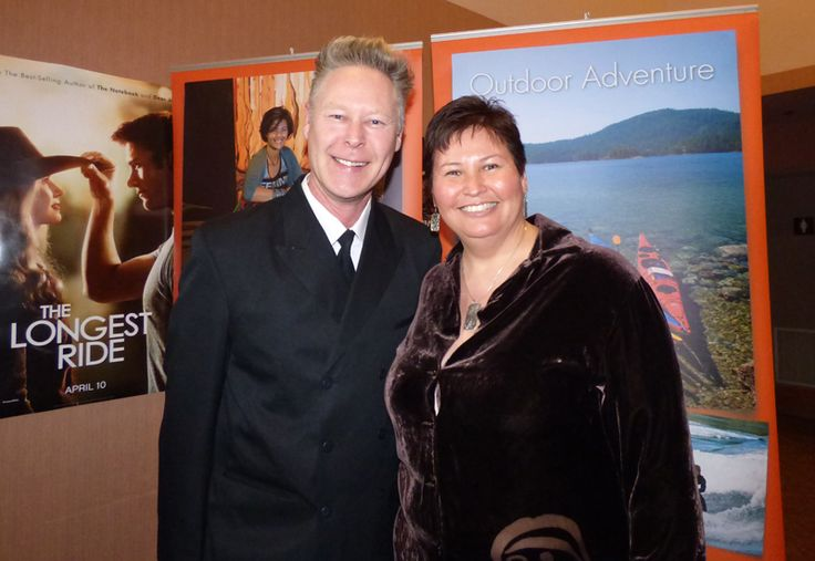 Duane Burnett with guest speaker Candace Campo from Talaysay Tours and Kayak Rentals at 'Business of Tourism' presented by Sunshine Coast Credit Union, Raven's Cry Theatre, Sechelt, BC.