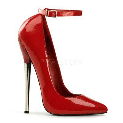 Devious DAGGER-12 rode lak pin up hoge hakken schoen met zilverkleurige stiletto en enkelbandje - (EU 35 = US 5) - De online kopen