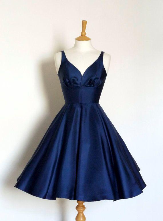 Twill di seta blu navy abito altalena  fatta da scavare per