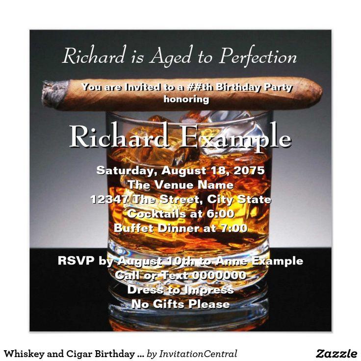 birthday invitatioletter to friends%0A Whiskey and Cigar Birthday Party Invitation