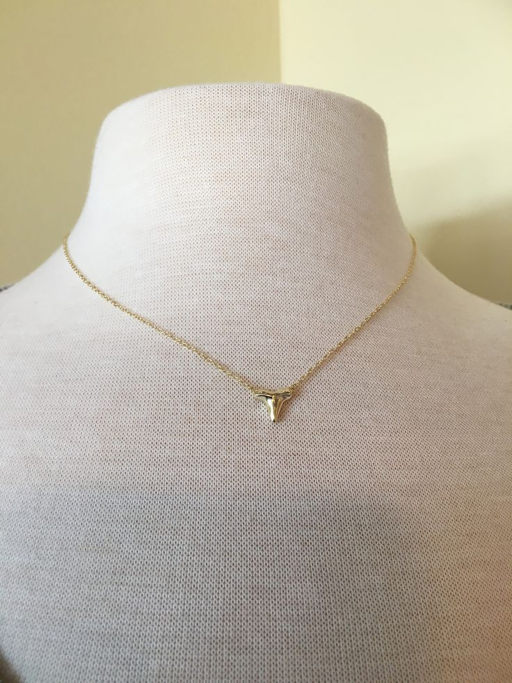 Gold Plated Sterling Silver Shark Tooth Necklace