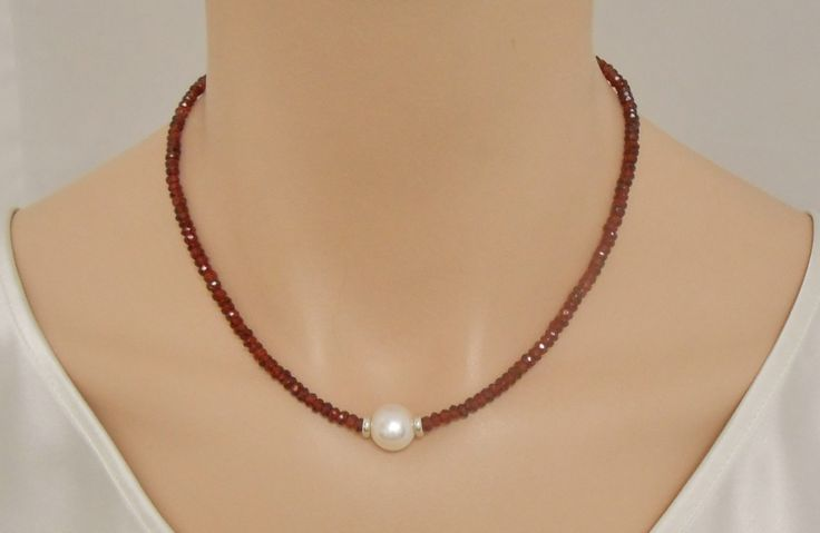 Garnet necklace with freshwater pearl and sterling silver