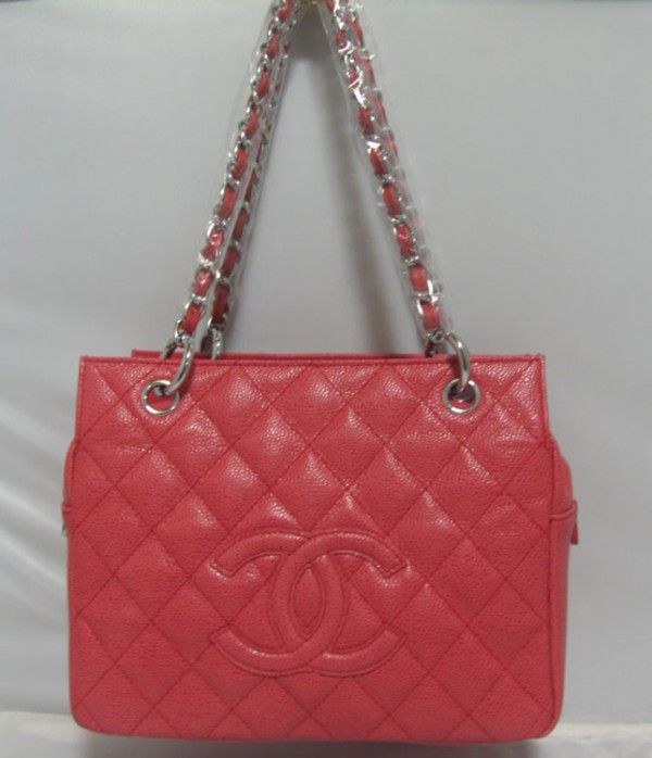 Chanel Shoulder Bags 18004 Red Soft Grained Silver Chain