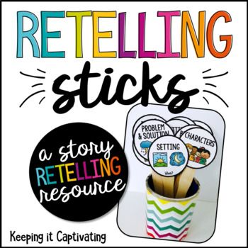 Retelling Sticks are a tool for students to help them retell stories, while identifying and describing story elements. The visual cues will aid students in providing key ideas and details as they retell and sequence. Glue the laminate circles to popsicle sticks and they are ready to use!