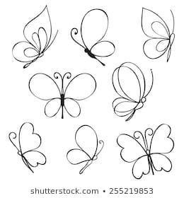 Vector Set of hand drawn butterflies | Easy butterfly ...