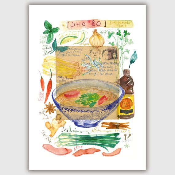 Vietnamese Pho watercolor print Kitchen art Pho by lucileskitchen