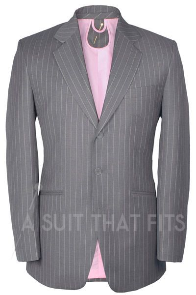 Light Grey Distinguished Two Piece Suit with a pink lining.