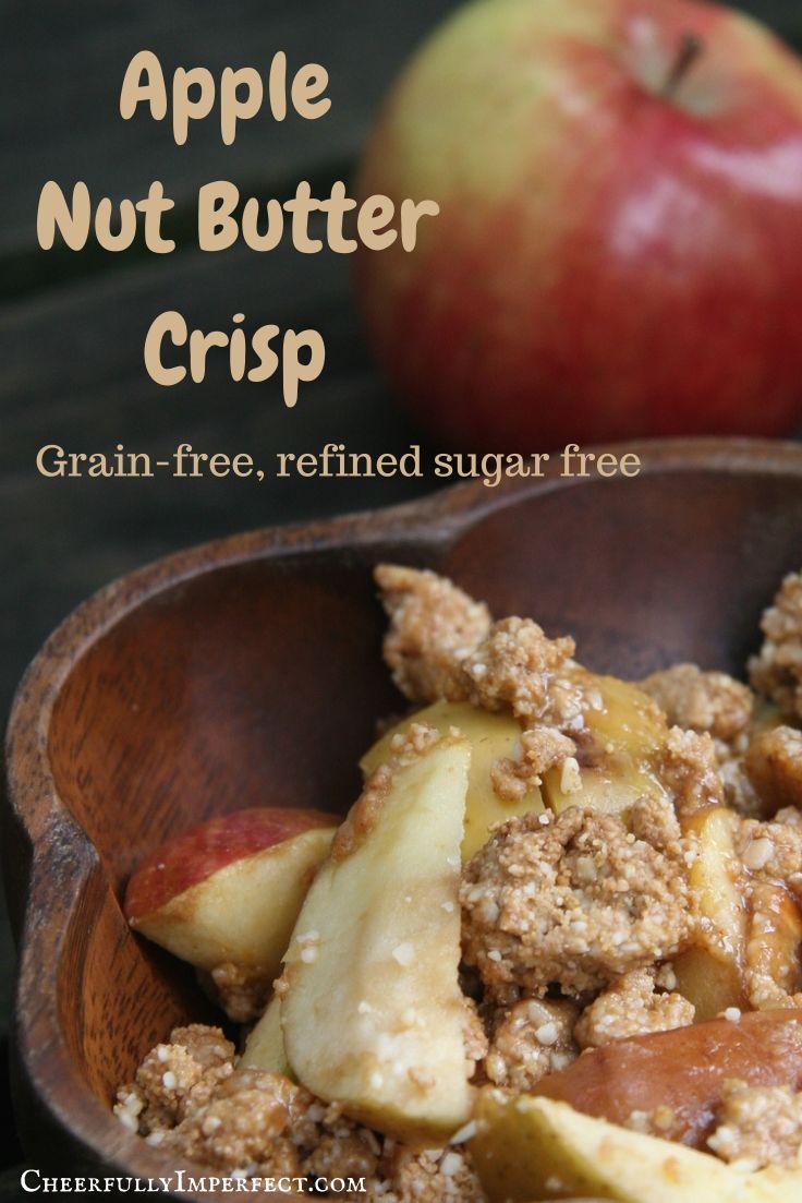Apple Nut Butter Crisp! Grain-free, refined sugar free, primal breakfast recipe!  #primal #grainfree #breakfast #realfood #crunchymomma