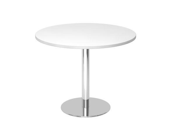 Runder Besprechungstisch Stf10 100cm Weiss Gestell Chrom Tischplatte Rund Weisse Stuhle Buromobel Design