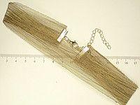 "Чокер ""Золотисто-Оливковая Тканевая Лента"" на цепочке длина 32-40 см"