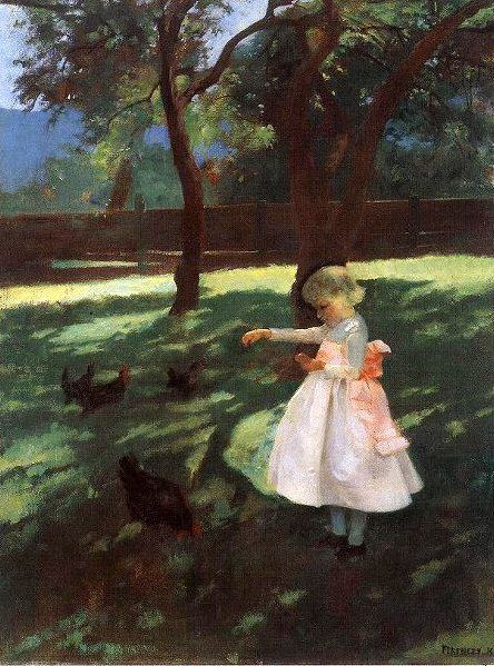 Karoly Ferenczy (1862 – 1917, Hungarian) Feeding The Chickens