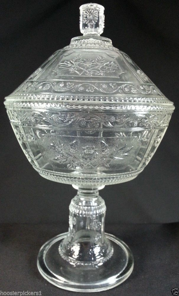 Antique Clear Willow Oak Covered Compote Bryce Glass Oak