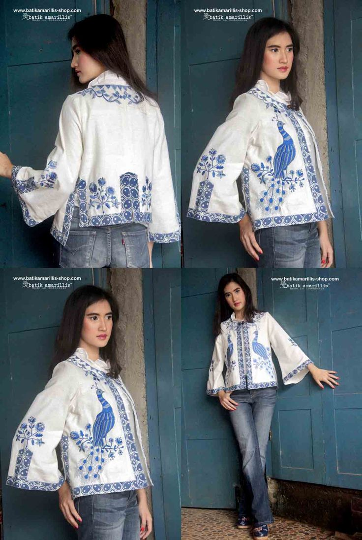 Batik Amarillis's Amarillissima jacket in Mexican peacock embroidery & batik kawung , it's beautiful ,unique & special ,The style is vintage 1867's Victorian wardrobe inspired, the unique style & cutting of this beautifully tailored garment will turn heads with its captivating design.