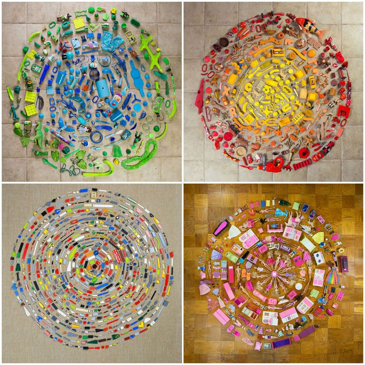 """""""Colorful Mandalas made of everyday objects such as Barbies, Lego's, books, shoes, and plastic items found throughout their home by Hillerbrand and Magsamen. Stephan Hillerbrand and Mary Magsamen are a collaborative husband and wife visual artist team based in Houston, Texas. For their latest project called """"Mandalas"""", they have created a series of bright, organized color pallets combining stuff they have found lying around in their own creative exploration."""""""