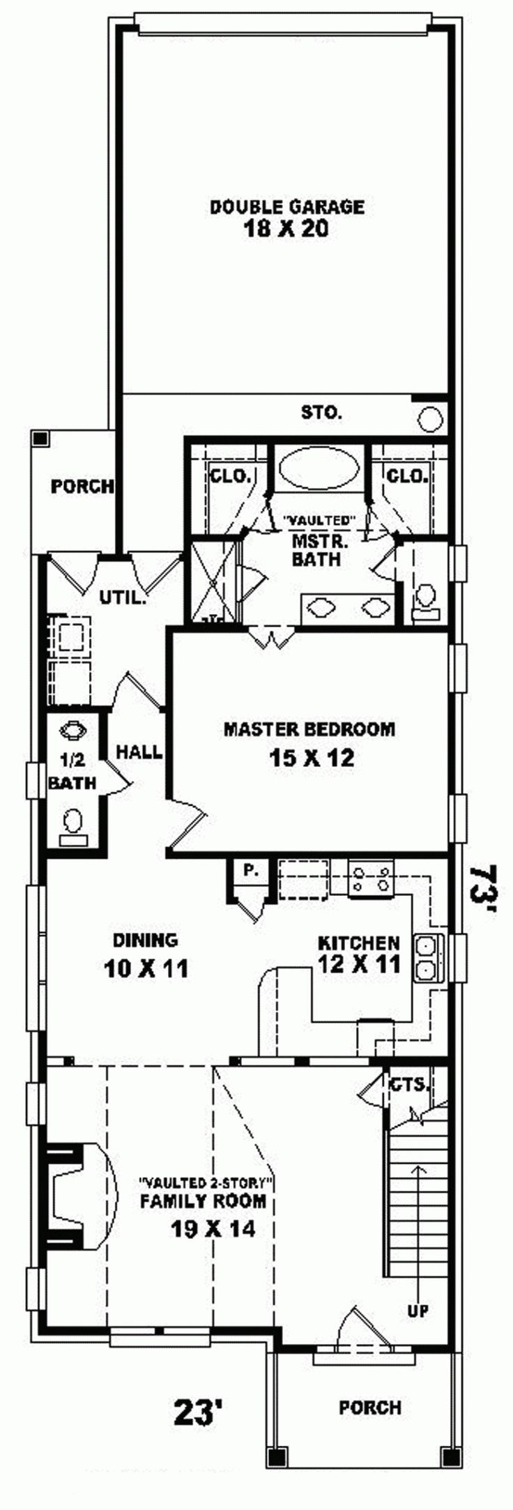 17 best ideas about narrow lot house plans on pinterest for Narrow house plans with attached garage