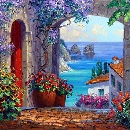 pin von lavender smell auf art acrylic canvas painting pinterest mediterran malen und. Black Bedroom Furniture Sets. Home Design Ideas