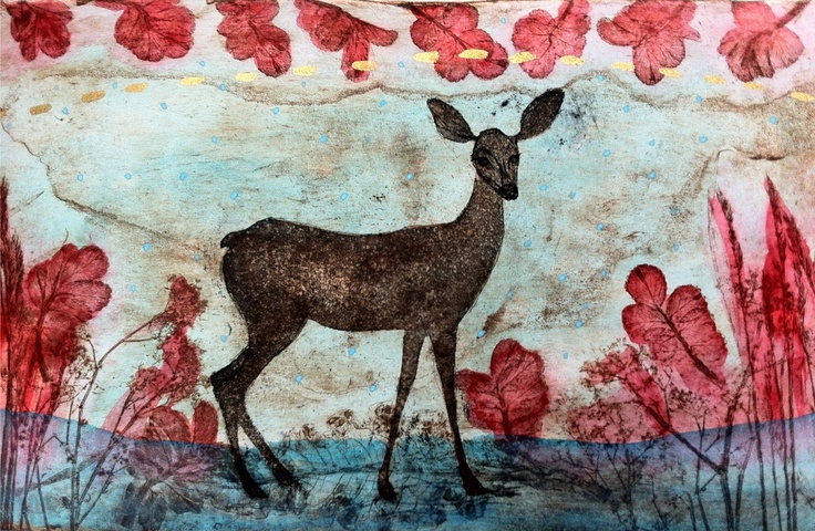 "Original etching ""Kedon hurma"" by Maarit Kontiainen"