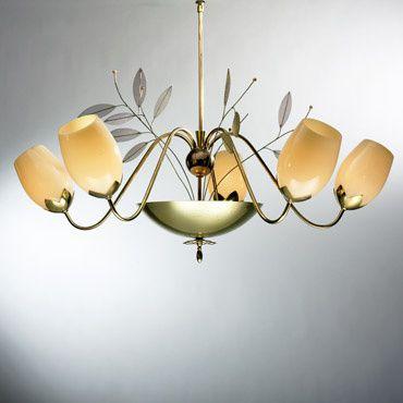 Lot 175: Paavo Tynell. chandelier. c. 1965, brass, glass, enameled brass. 39 w x 32 h in. result: $9,000. estimate: $5,000–7,000.