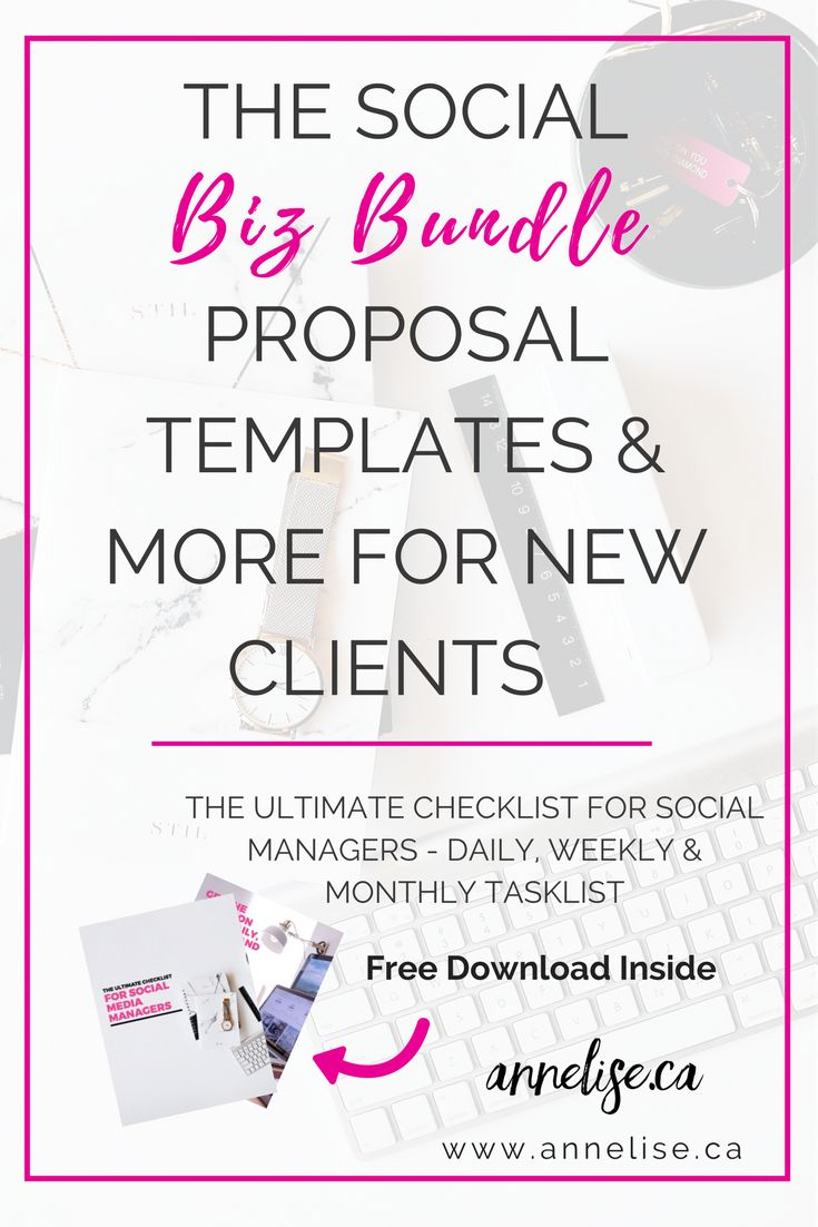 The Ultimate Template Package For Social Media Managers | FREE Checklist included. Get the social media proposal template, social media contract template, social media new client questionnaire, social media pitch template, email pitch templates for contacting new clients, welcome templates for new social media clients. Downloadable files and easy to edit and use.