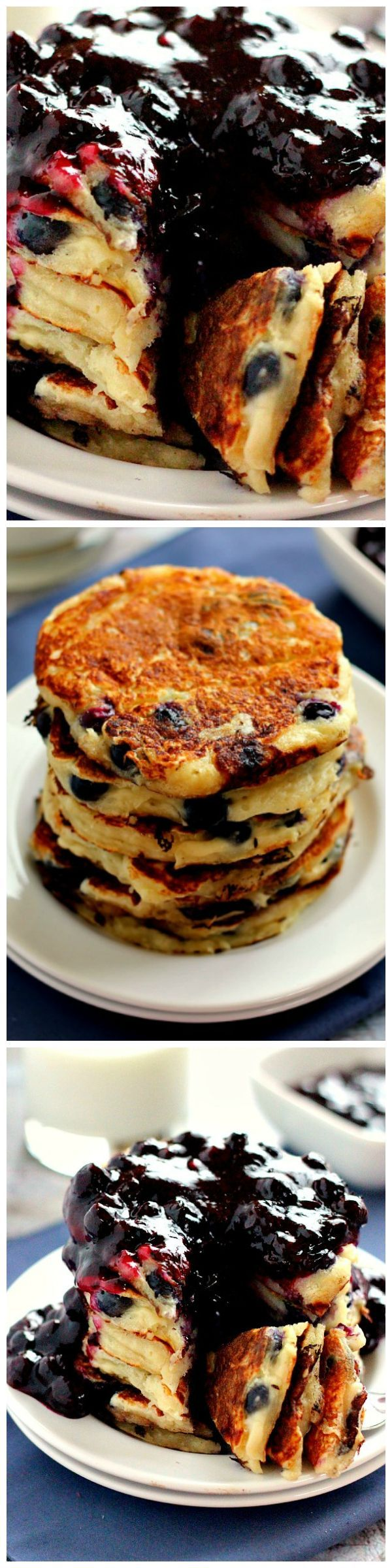 Blueberry Greek Yogurt Pancakes - These protein-packed Blueberry Greek Yogurt Pancakes are filled with plump blueberries, vanilla Greek yogurt and just the right amount of flavor. | @pumpkinnspice1 on WholeYum.com