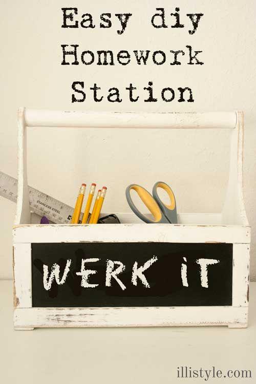 Easy DIY Homework Station - Keep everything organized and make homework time less stressful. www.illistyle.com