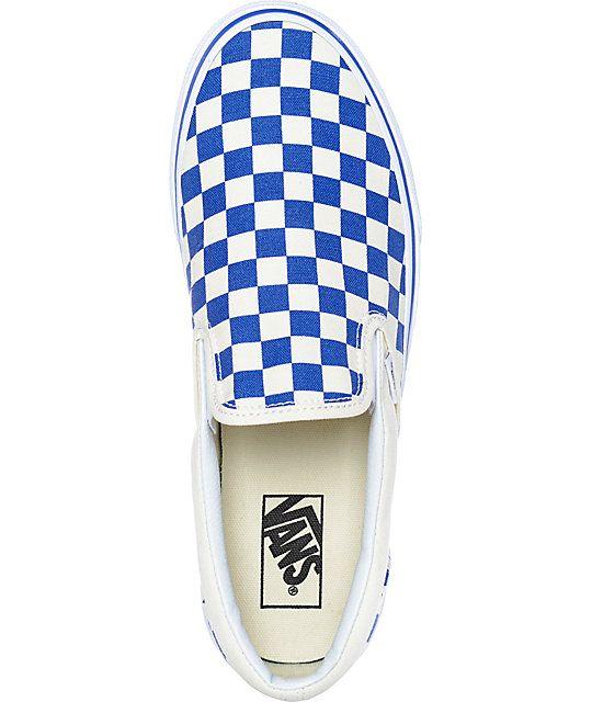 0ea1123d42d7a6 Vans Slip-On Blue   White Checkered Skate Shoes