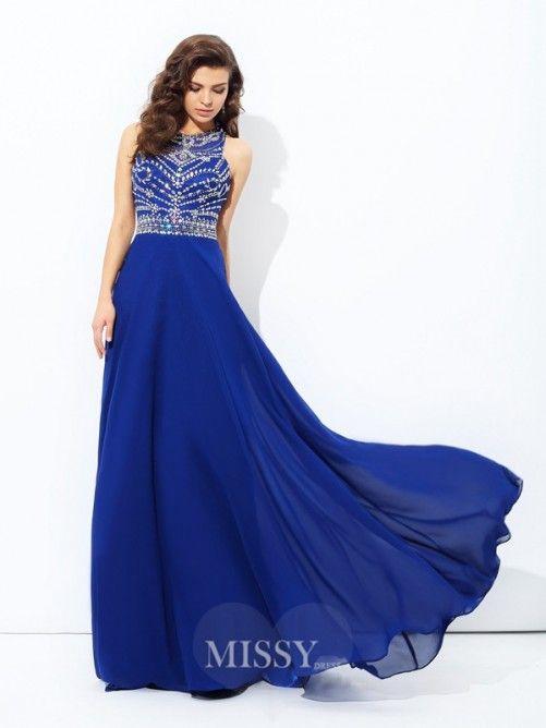 A-Line/Princess Scoop Floor-length Chiffon Prom Dress with Beading