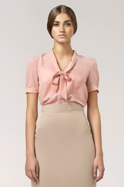 Bluzka+z+wiązaniem+na+dekolcie+b26+-+róż+w+NIFE+Fashion+na+DaWanda.com