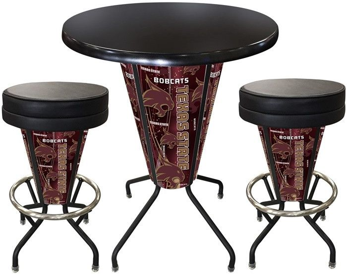 Texas State Bobcats D1 Black Lighted Pub Table Set. Two additional Stools are optional. Visit SportsFansPlus.com for details.