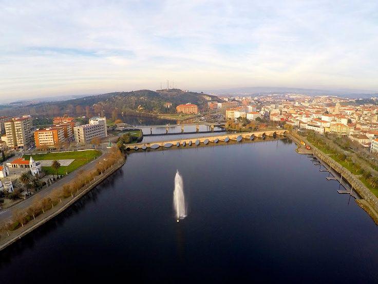 Mirandela and Tua river fountain aerial view