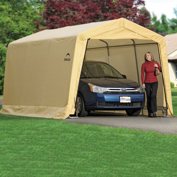 Shelterlogic Autoshelter 1015 Portable Garage With Tan Cover 10 Foot X 15 Foot X 8 Foot Portable Garage Instant Garage Garage Canopies