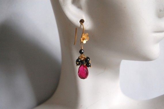 Shoply.com -AAA hot pink quartz and black spinel dangle earrings. Only C$40.00