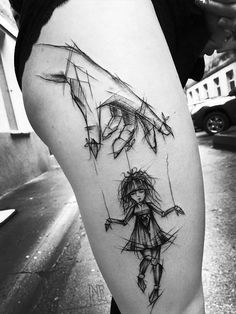 Great sketch tattoos by Inez Janiak
