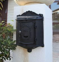 Top selling European cast iron mailbox Wall Mount Metal Post Letters Box Fashion Vintage Newspaper box outdoor Post Letter Box(China)