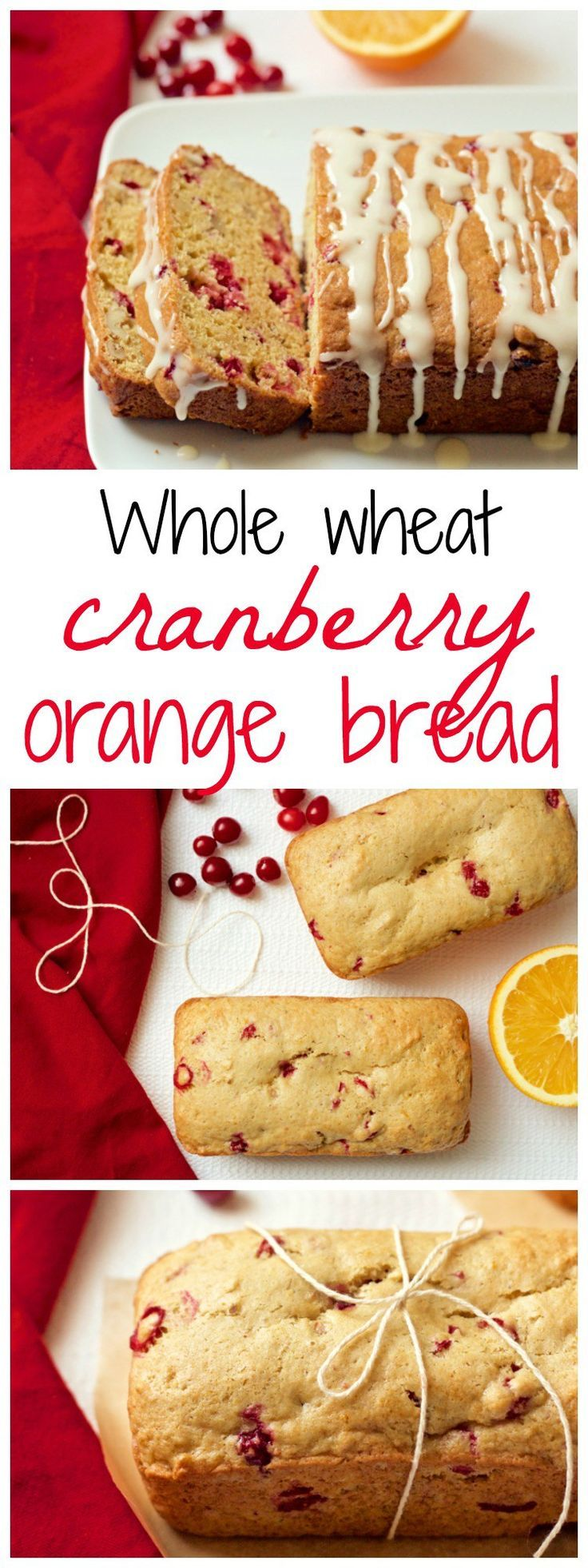 Whole wheat orange cranberry bread (with an optional citrus glaze) can be made as a large loaf or mini loaves - great for gifts or a holiday brunch!