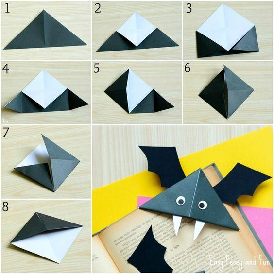 DIY Bat Corner Bookmarks - Halloween Crafts - Easy Peasy and Fun: