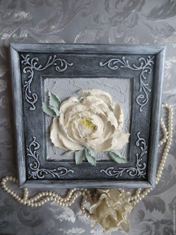 Купить Панно Пион белый. Скульптурная живопись декоративной штукатуркой. - серый, пион, декоративная штукатурка