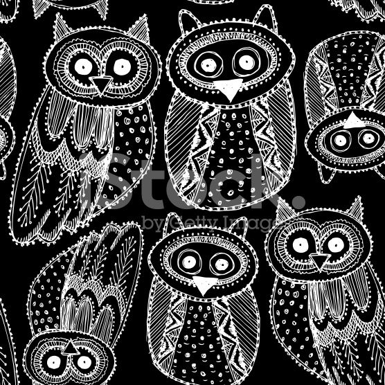 Hand dravn Cute Owl Sketch Doodle White black seamless pattern. royalty-free stock vector art