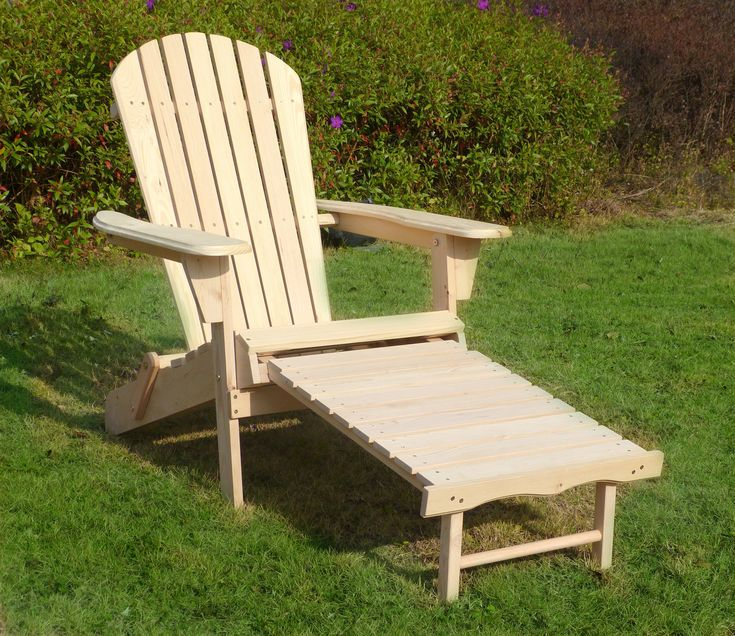 Wooden Unfinished Adirondack Chair Kit With Pullout Ottoman