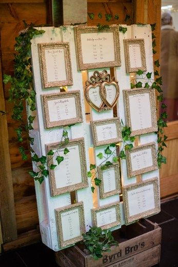 Glam pallet seating plan. Wedding at Woodhouse Barn by Whole Picture Photography