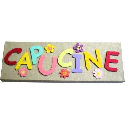 Tableau prénom pour décorer et personnaliser la chambre d'une petite fille sur le thème des fleurs